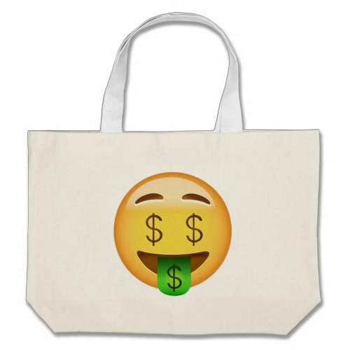 Money-Mouth Face Emoji Large Tote Bag