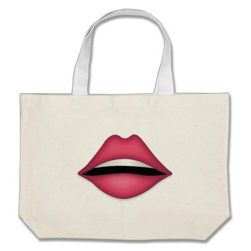 Mouth Emoji Large Tote Bag