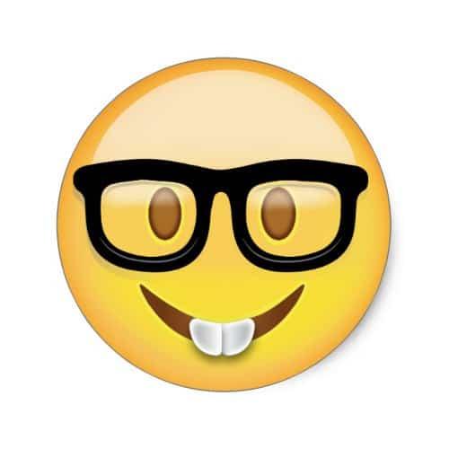 Nerd Face Emoji Classic Round Sticker