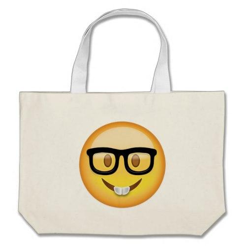 Nerd Face Emoji Large Tote Bag