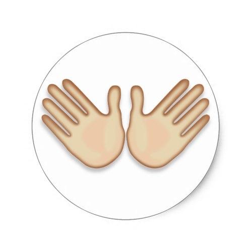 Open Hands Sign Emoji Classic Round Sticker
