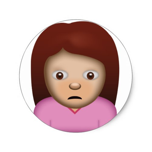 Person Frowning Emoji Classic Round Sticker