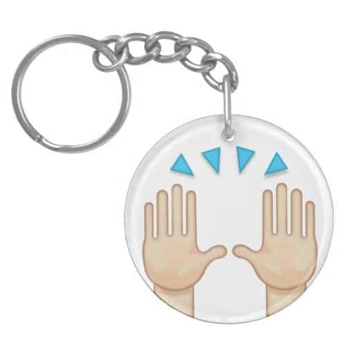 Person Raising Both Hands In Celebration Emoji Keychain