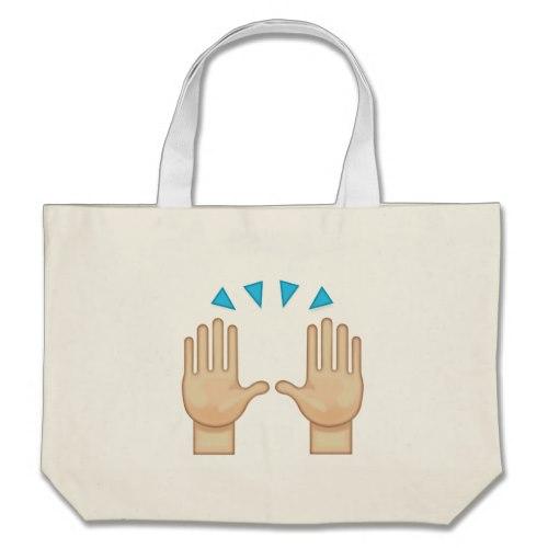 Person Raising Both Hands In Celebration Emoji Large Tote Bag