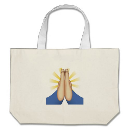Person With Folded Hands Emoji Large Tote Bag