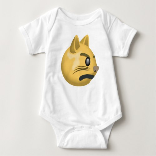 Pouting Cat Face Emoji Baby Bodysuit