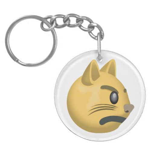 Pouting Cat Face Emoji Keychain