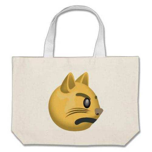 Pouting Cat Face Emoji Large Tote Bag
