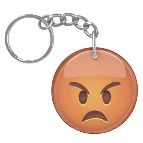 Pouting Face Emoji Keychain