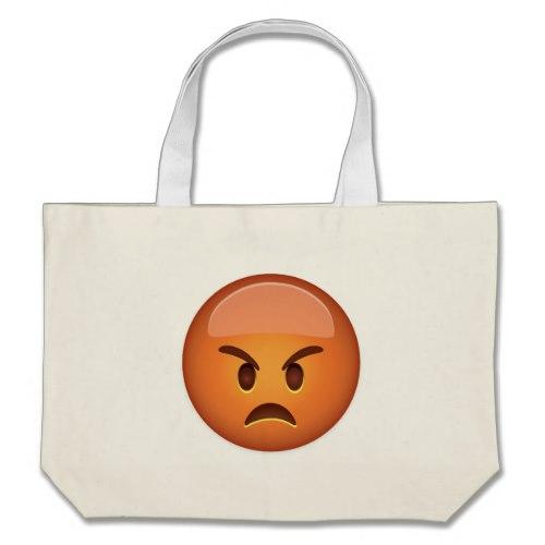Pouting Face Emoji Large Tote Bag