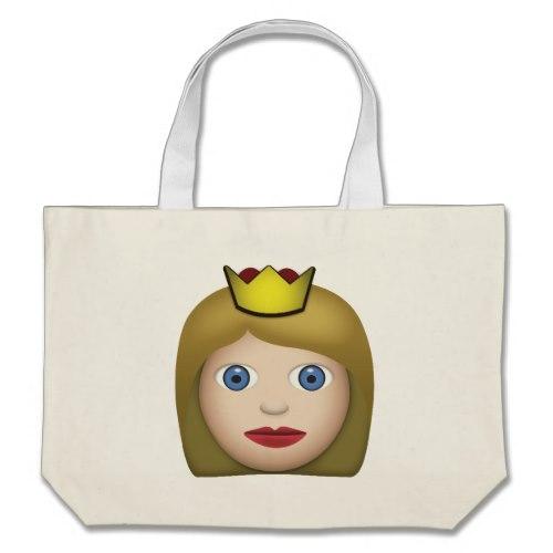 Princess Emoji Large Tote Bag