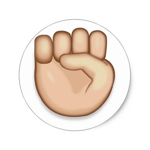 Raised Fist Emoji Classic Round Sticker