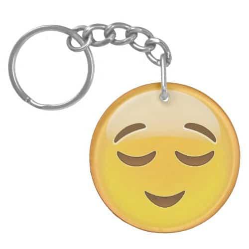 Relieved Face Emoji Keychain