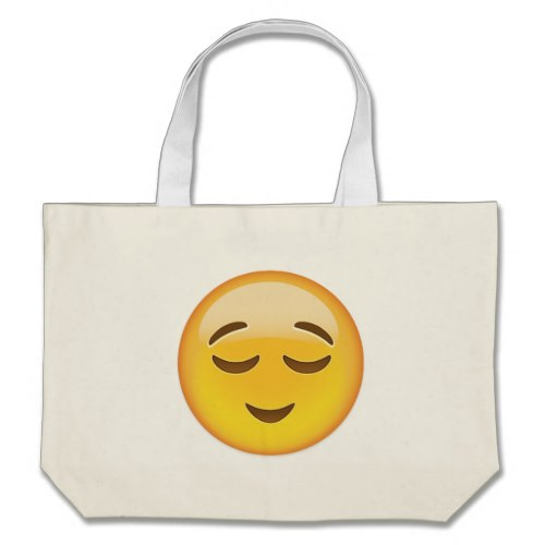 Relieved Face Emoji Large Tote Bag