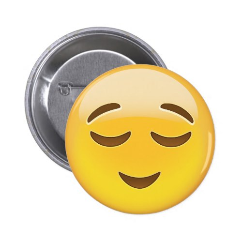 Relieved Face Emoji Pinback Button