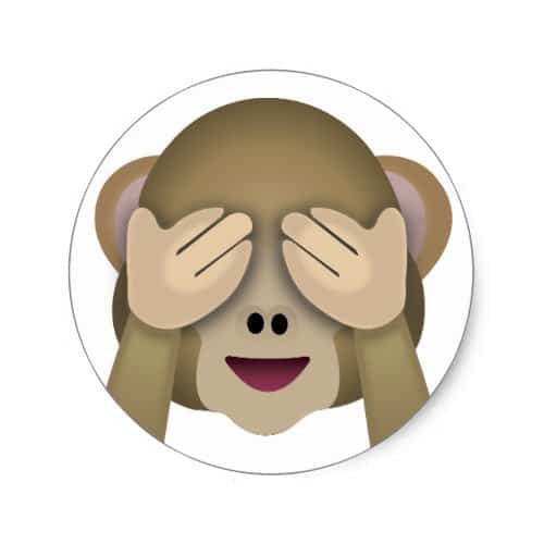 See no evil monkey emoji classic round sticker