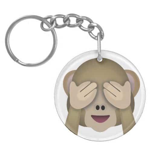 See No Evil Monkey Emoji Keychain