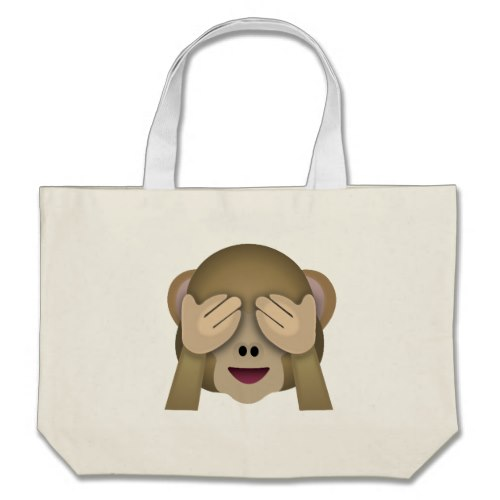 See No Evil Monkey Emoji Large Tote Bag