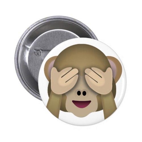 See No Evil Monkey Emoji Pinback Button