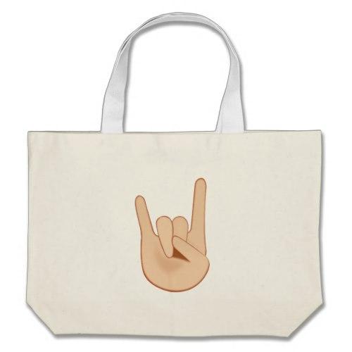 Sign of the Horns Emoji Large Tote Bag