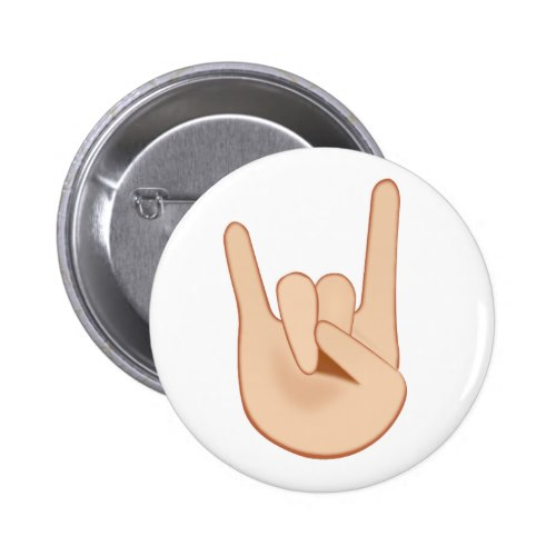 Sign of the Horns Emoji Pinback Button