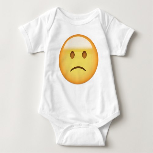 Slightly Frowning Face Emoji Baby Bodysuit
