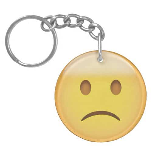 Slightly Frowning Face Emoji Keychain