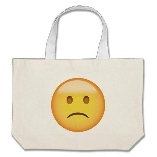 Slightly Frowning Face Emoji Large Tote Bag