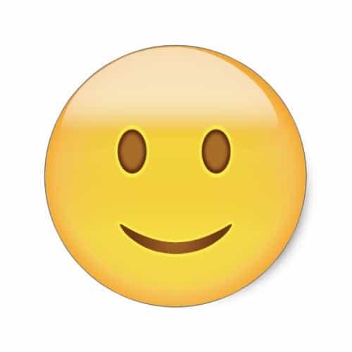Slightly smiling face emoji classic round sticker