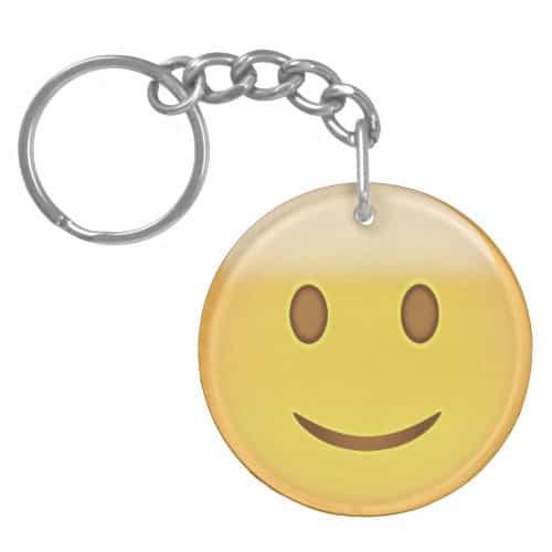 Slightly Smiling Face Emoji Keychain