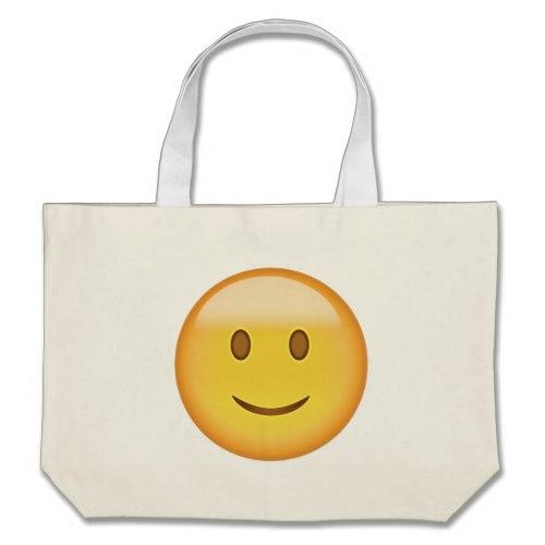 Slightly Smiling Face Emoji Large Tote Bag