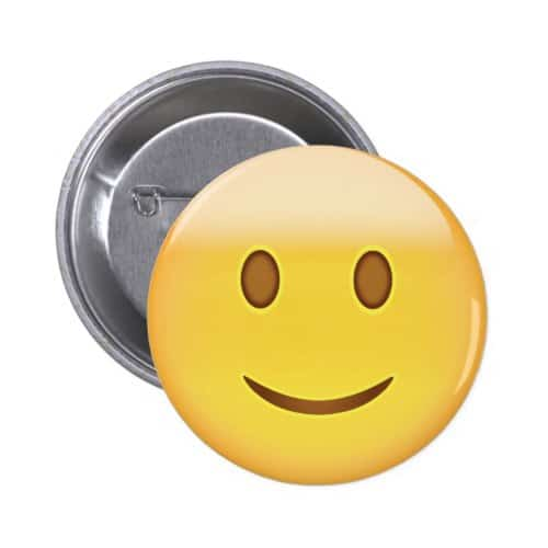 Slightly Smiling Face Emoji Pinback Button