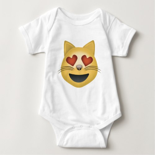 Smiling Cat Face With Heart Shaped Eyes Emoji Baby Bodysuit