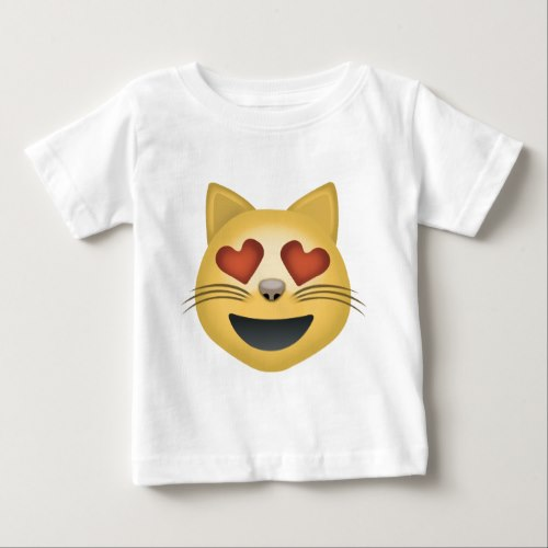 Smiling Cat Face With Heart Shaped Eyes Emoji Baby T-Shirt