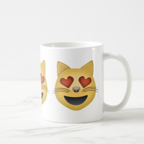 Smiling Cat Face With Heart Shaped Eyes Emoji Coffee Mug