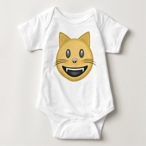 Smiling Cat Face With Open Mouth Emoji Baby Bodysuit