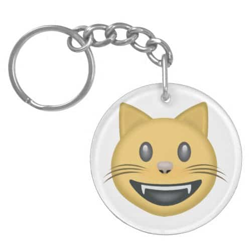 Smiling Cat Face With Open Mouth Emoji Keychain