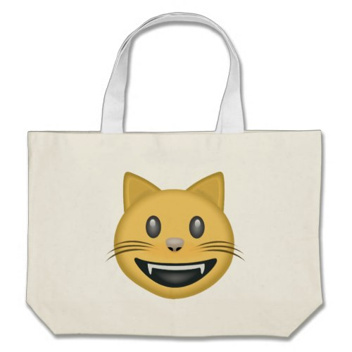 Smiling Cat Face With Open Mouth Emoji Large Tote Bag