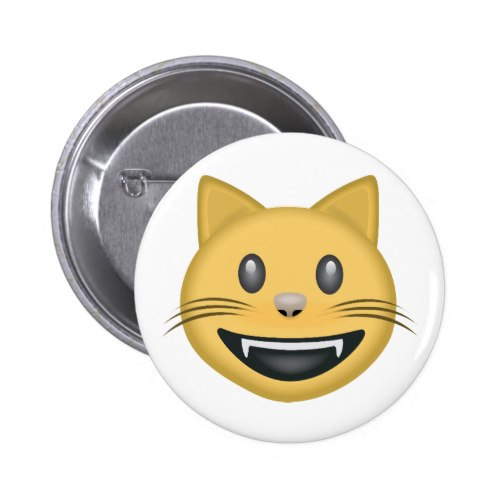 Smiling Cat Face With Open Mouth Emoji Pinback Button