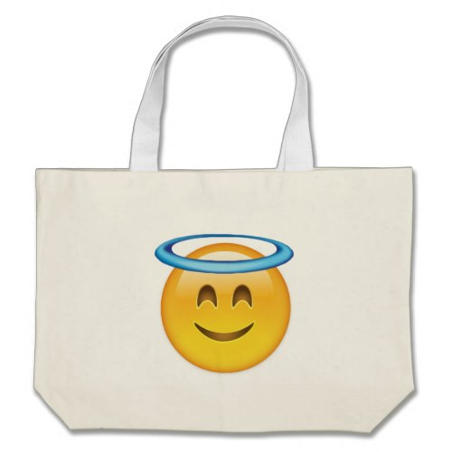 Smiling Face With Halo Emoji Large Tote Bag