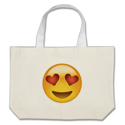 Smiling Face With Heart Shaped Eyes Emoji Large Tote Bag