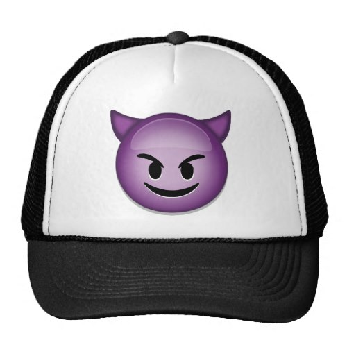 Smiling Face With Horns Emoji Trucker Hat