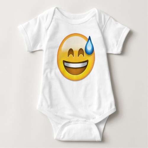 Smiling Face With Open Mouth And Cold Sweat Emoji Baby Bodysuit