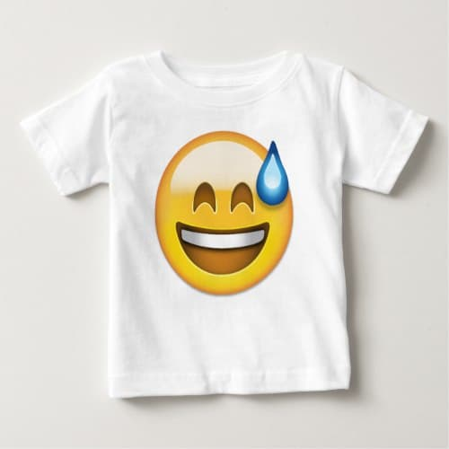 Smiling Face With Open Mouth And Cold Sweat Emoji Baby T-Shirt