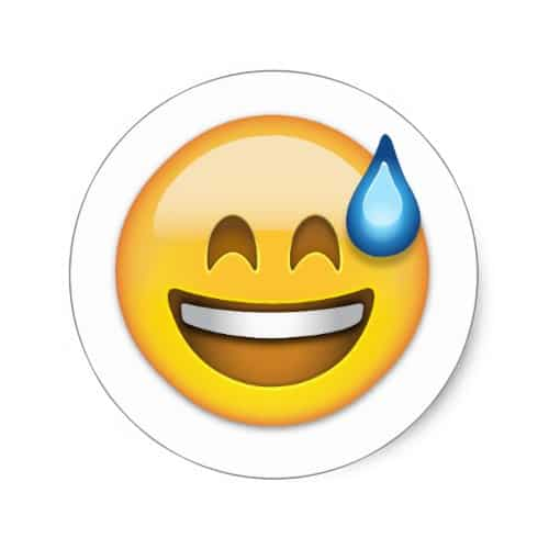 Smiling Face With Open Mouth And Cold Sweat Emoji Classic Round Sticker