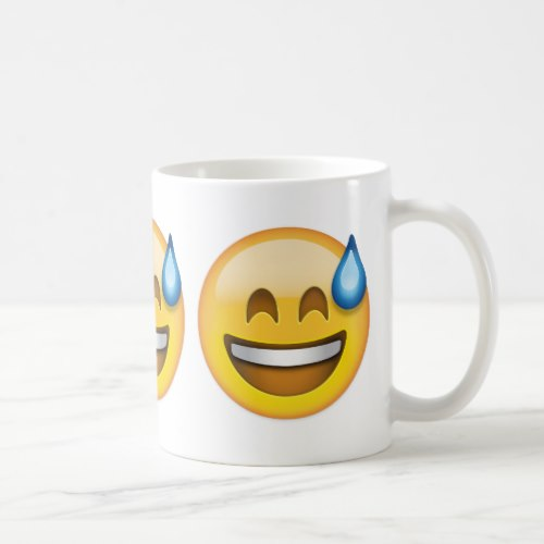 Smiling Face With Open Mouth And Cold Sweat Emoji Coffee Mug