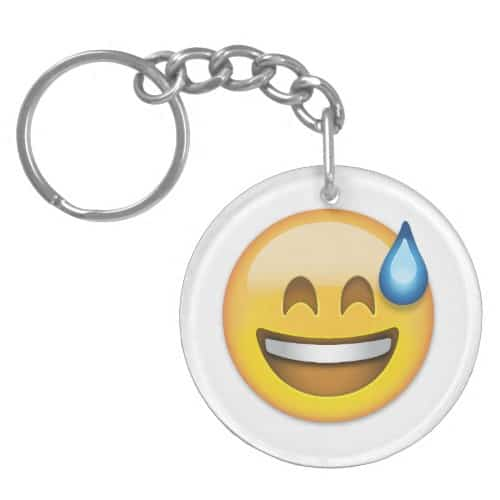 Smiling Face With Open Mouth And Cold Sweat Emoji Keychain