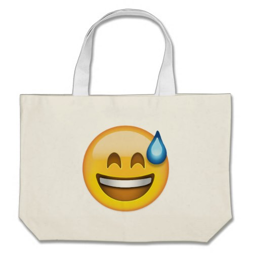 Smiling Face With Open Mouth And Cold Sweat Emoji Large Tote Bag