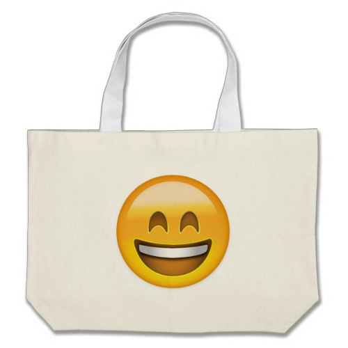 Smiling Face With Open Mouth & Smiling Eyes Emoji Large Tote Bag