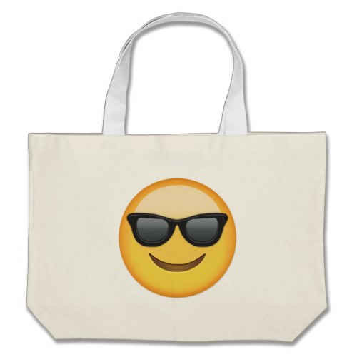 Smiling Face With Sunglasses Emoji Large Tote Bag